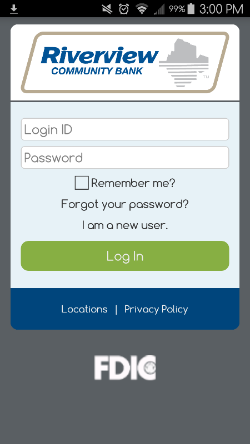 Riverview Mobile Banking Login Screen